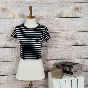 3/$25 Zara Black White Striped Crop Top T-Shirt M